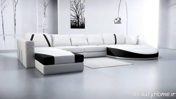 مدل مبل راحتی سفید و مشکی