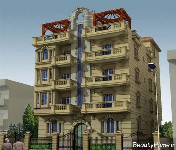 نمای زیبا و مدرن ساختمان 5 طبقه