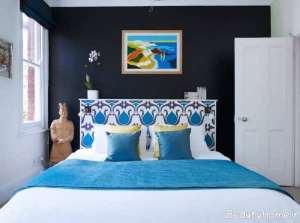 دیوار سیاه در اتاق خواب های بزرگ و کوچک