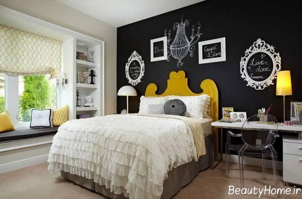 طراحی داخلی اتاق خواب با دیوار سیاه
