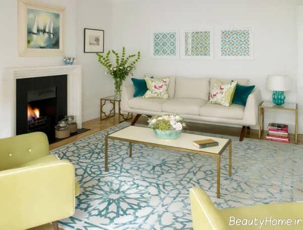 مدل فرش آبی و سفید