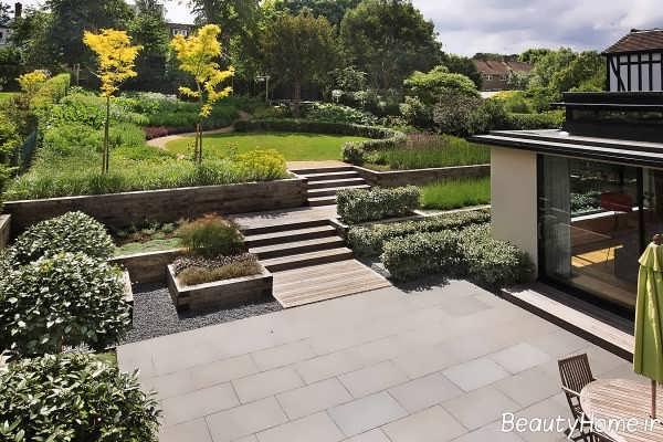 محوطه سازی شیک و مدرن فضای سبز
