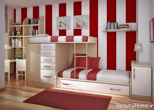 دکوراسیون قرمز و سفید اتاق کودک