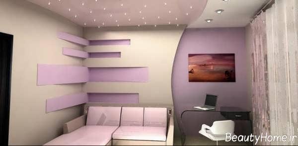 مدل سقف زیبا و شیک کناف برای سالن پذیرایی