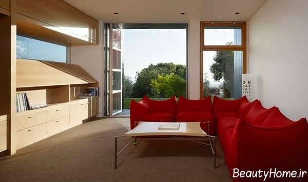 طراحی اتاق پذیرایی با مبل قرمز