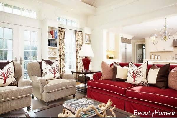 اتاق پذیرایی با مبل قرمز