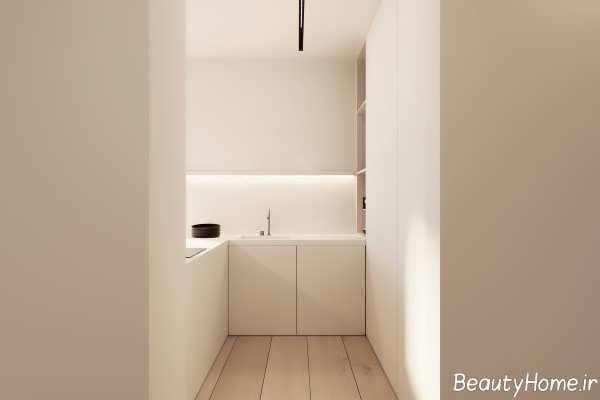 دکوراسیون سفید و ساده آشپزخانه