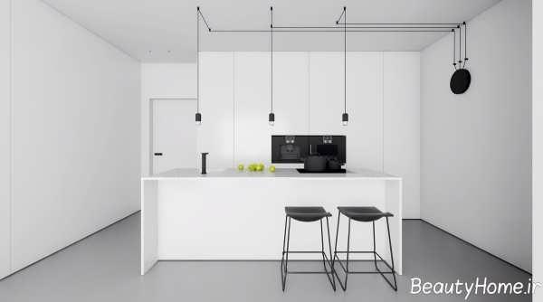 دکوراسیون آشپزخانه سفید و مدرن