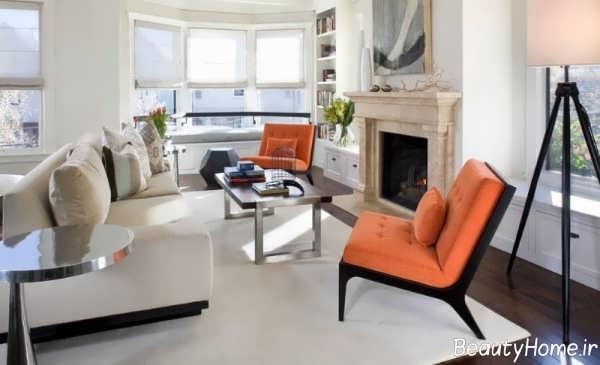 دکوراسیون سفید و نارنجی