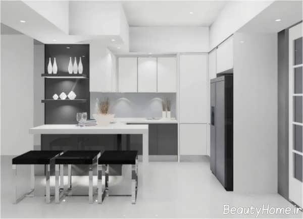 کابینت هایگلاس آشپزخانه کوچک آپارتمانی