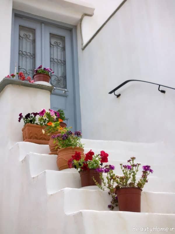 تزیین راه پله با گلدان های زیبا