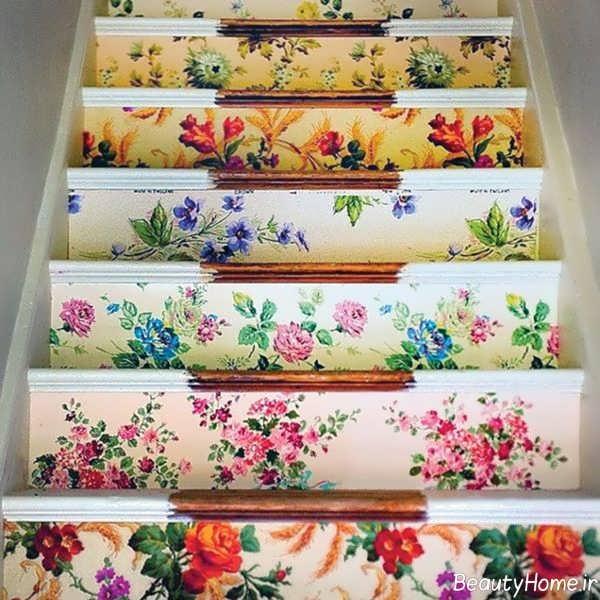 تزیین راه پله با کاغذ دیواری