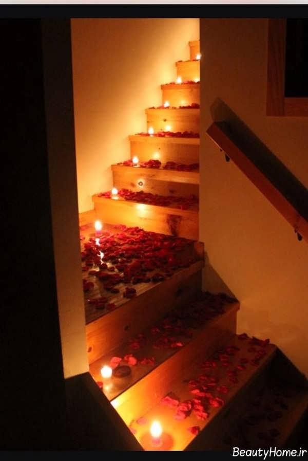 تزیین راه پله با شمع های تزیینی