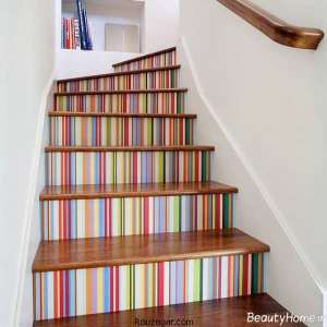 تزیین جالب راه پله با کاغذ دیواری