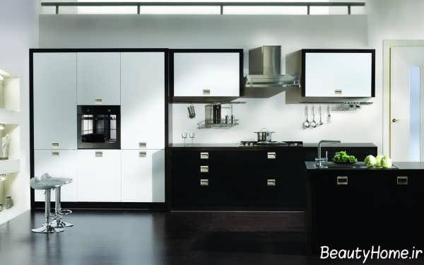مدل کابینت سفید و مشکی آشپزخانه