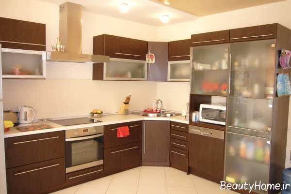 مدل کابینت آشپزخانه قهوه ای
