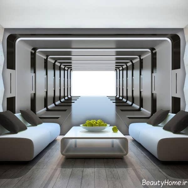 مدل کاغذ دیواری سه بعدی مخصوص اتاق پذیرایی