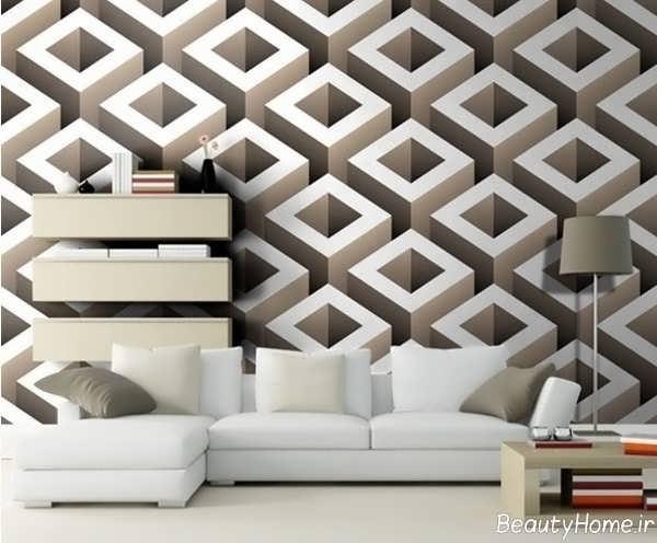 کاغذ دیواری سه بعدی مدرن و جذاب
