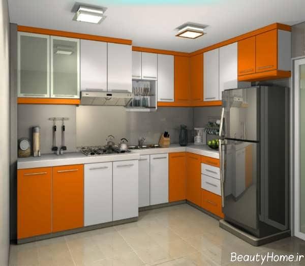 مدل کابینت آشپزخانه سفید و نارنجی