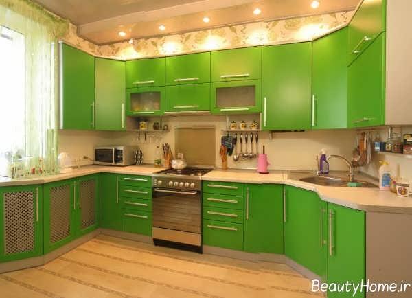مدل کابینت سبز آشپزخانه