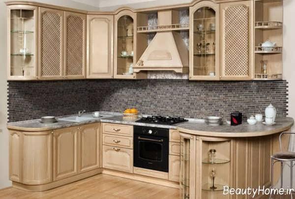 مدل کابینت آشپزخانه رنگ طلایی