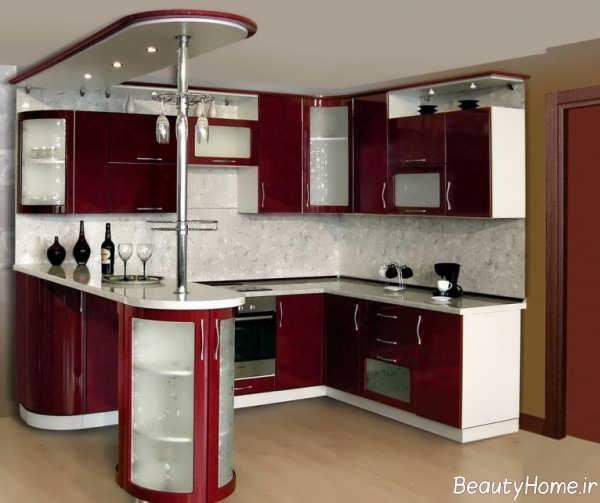 مدل کابینت زرشکی و سفید آشپزخانه