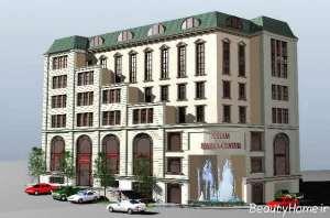 نمای ساختمان چند طبقه شیک و زیبا