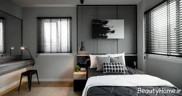 طراحی اتاق خواب شیک و زیبا خاکستری