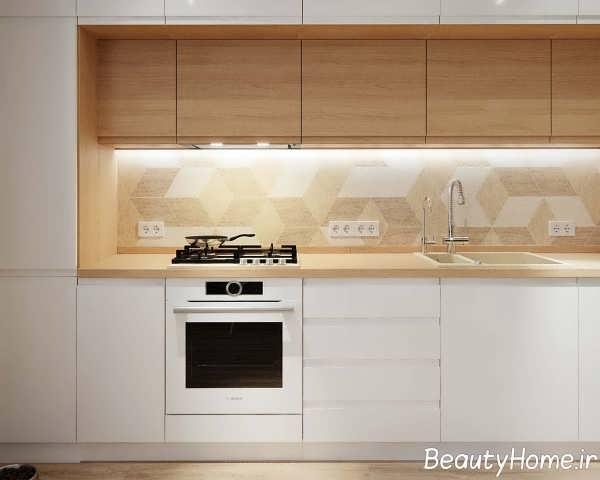 طراحی شیک فضای داخلی آشپزخانه آپارتمان کوچک