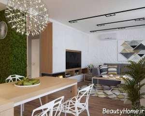 طراحی فضای داخلی اتاق نشیمن آپارتمان کوچک
