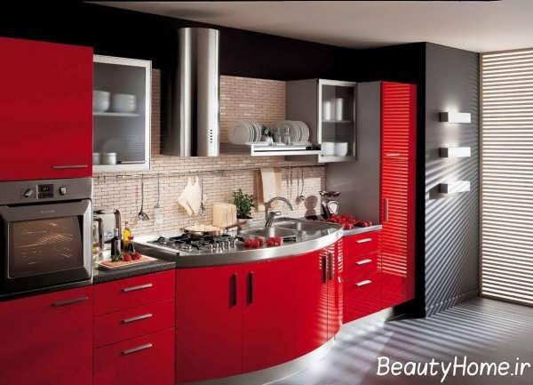 طراحی آشپزخانه شیک با تم قرمز