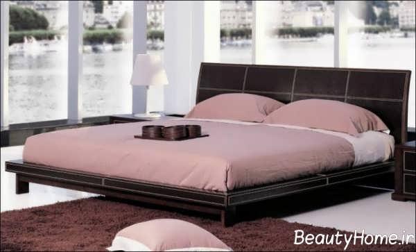 مدل تخت خواب دو نفره با تم صورتی