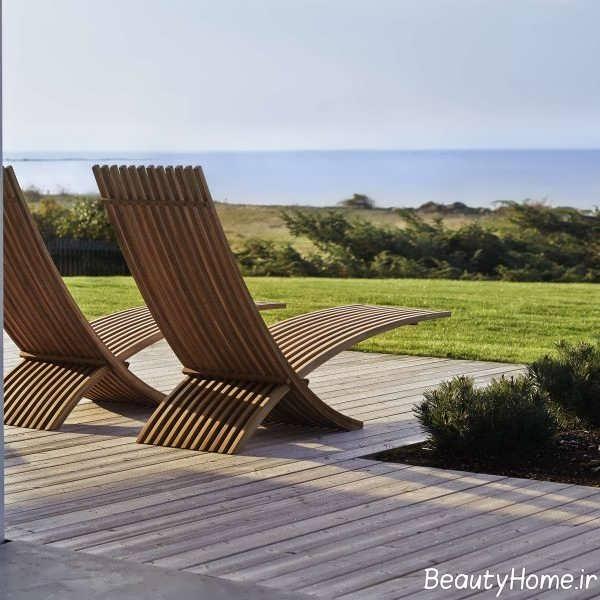 مدل صندلی چوبی و شیک فضای باز