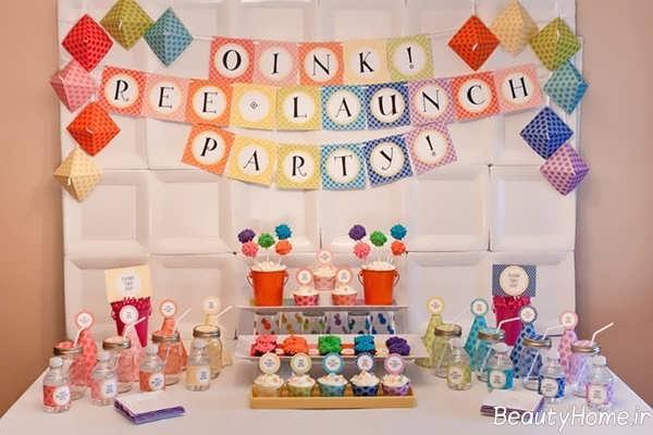 تزیین میز تولد با تم رنگین کمان