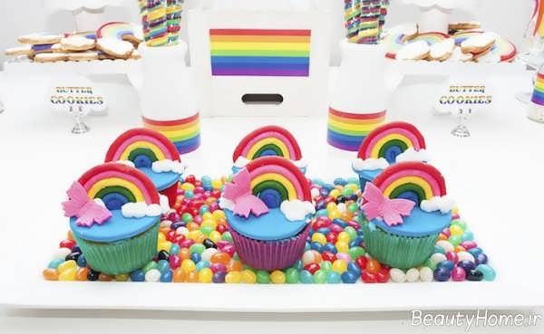 تزیین کاپ کیک با تم رنگین کمان