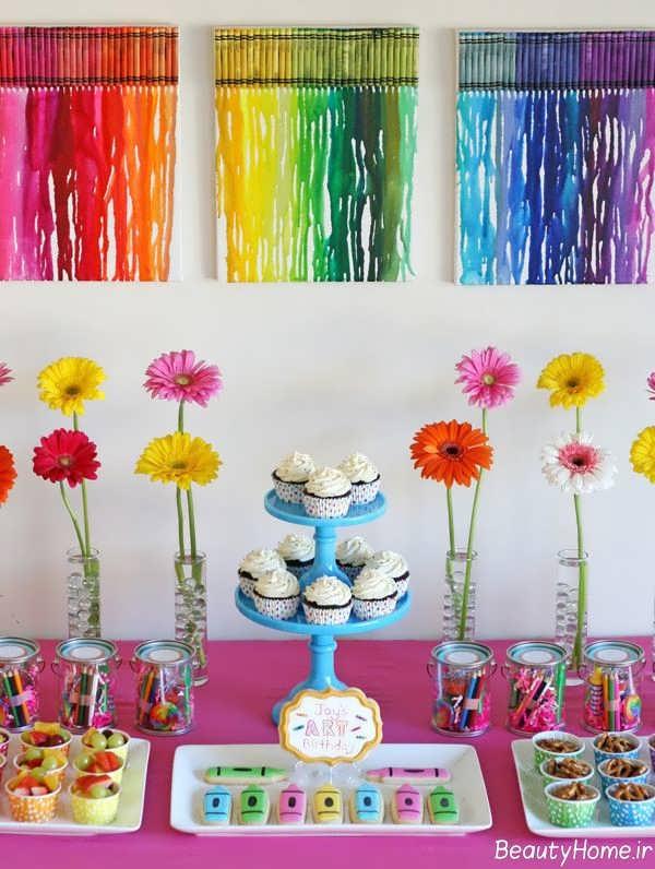 تزیین زیبا و فانتزی اتاق تولد با تم تولد رنگین کمان