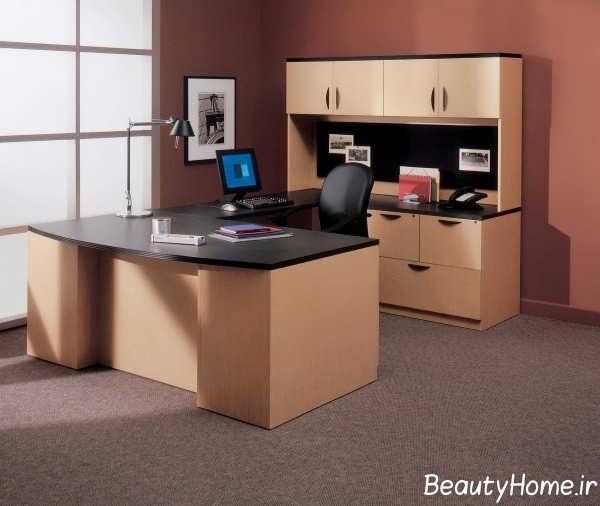 طراحی مدرن محیط اداری با تم قهوه ای