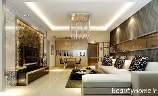طراحی شیک فضای داخلی اتاق نشیمن