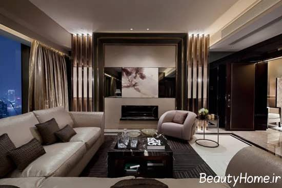 طراحی شیک فضای داخلی اتاق پذیرایی