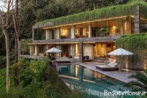 طرح زیبا محیط زیستی پشت بام سبز خانه های ویلایی