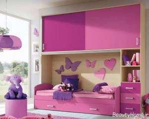 مدل تخت خواب بنفش کودک
