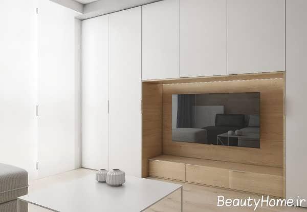 طراحی داخلی آپارتمان با دکور چوب