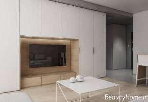 طراحی اتاق نشیمن با دکور چوب