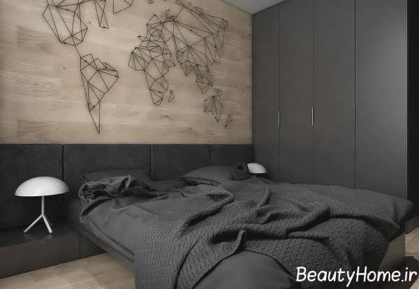دکوراسیون شیک اتاق خواب با تم زغالی