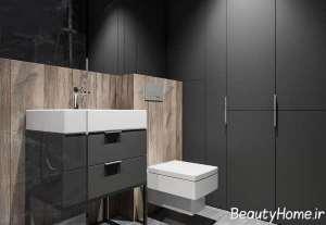 طراحی فضای داخلی حمام با تم زغالی