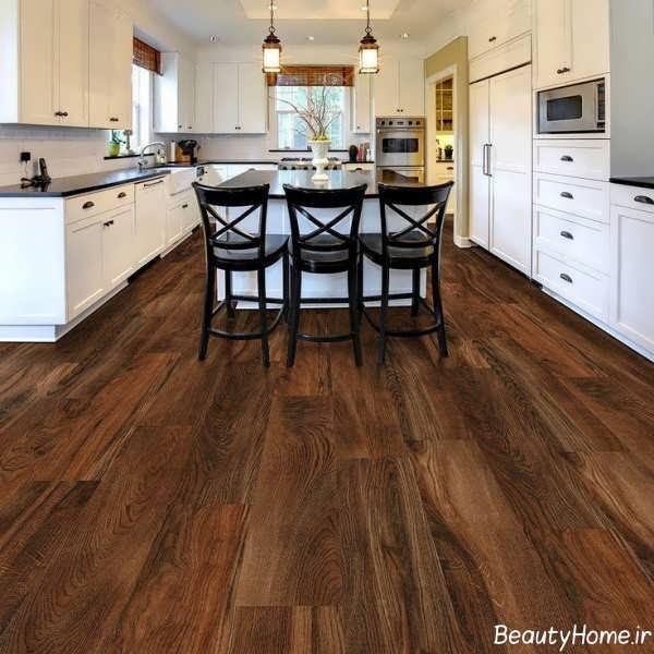 مدل کفپوش طرح چوب و شیک برای آشپزخانه