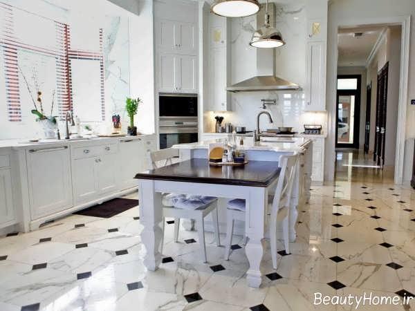 مدل کفپوش سفید و مشکی آشپزخانه