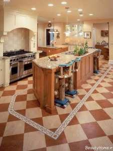 مدل کفپوش زیبا برای آشپزخانه ها با دکوراسیون کلاسیک