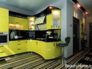 دکوراسیون آشپزخانه با تم لیمویی