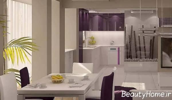 دکوراسیون عالی آشپزخانه با تم بنفش